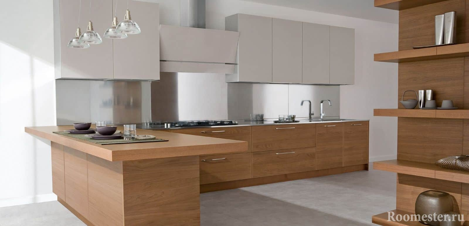 Угловая современная кухня в сочетании дерева и белого