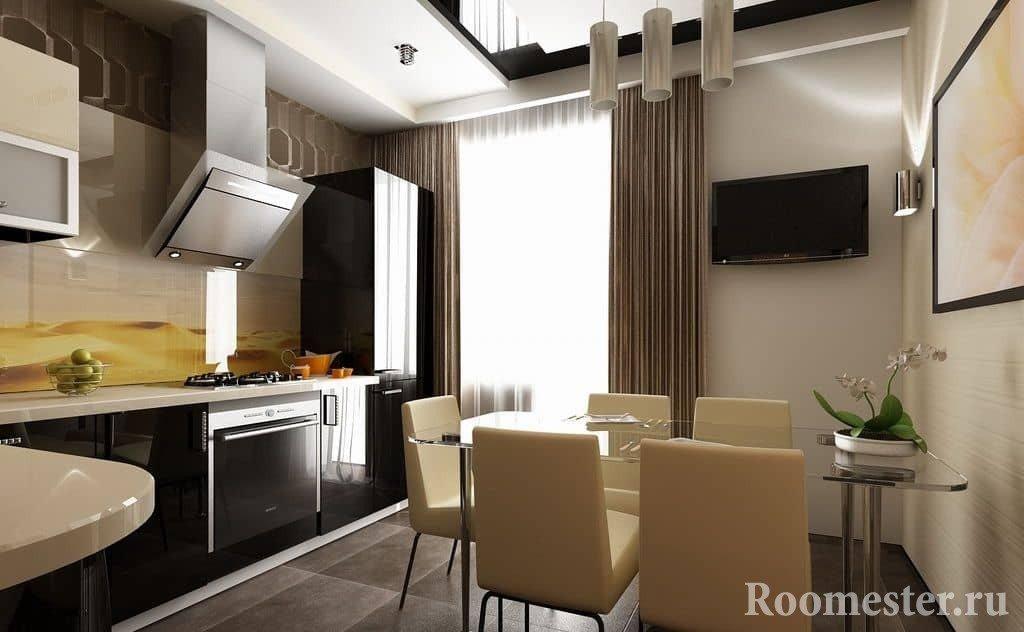 Кухня с черными глянцевыми фасадами и стеклянным обеденным столом