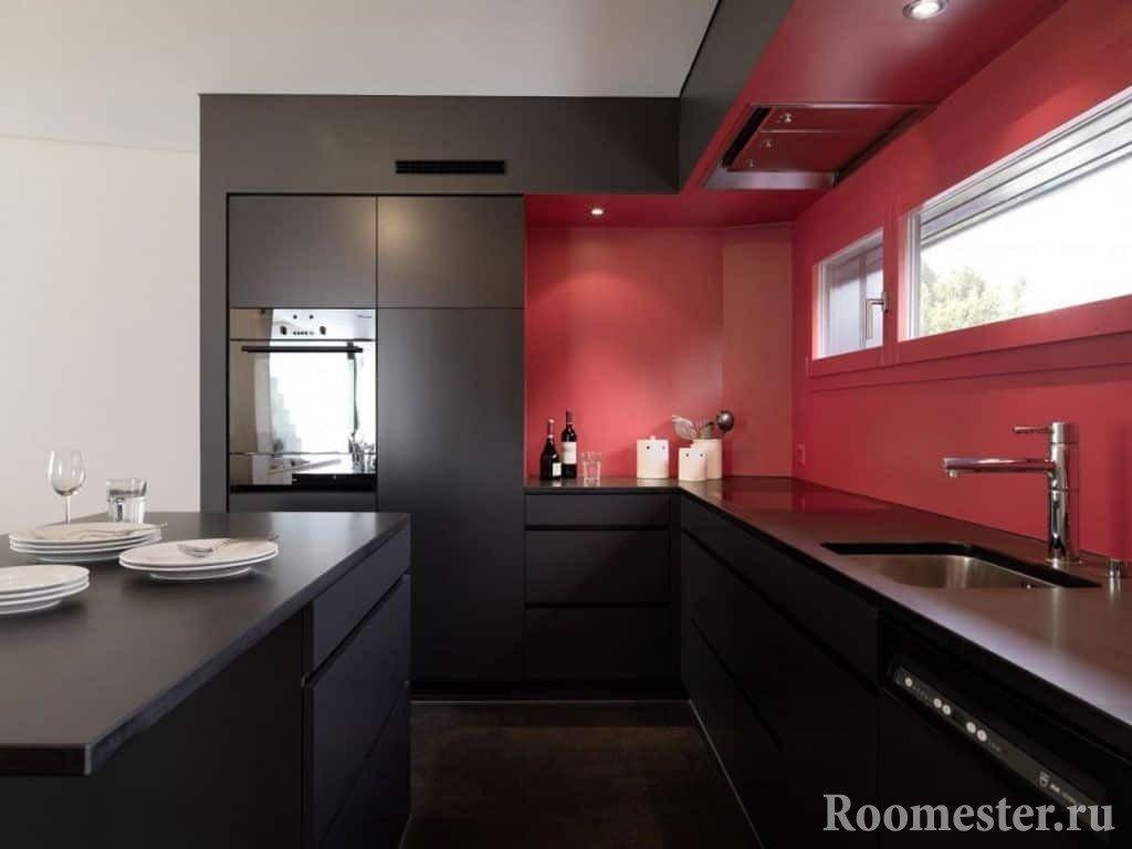 Черно-красная современная кухня