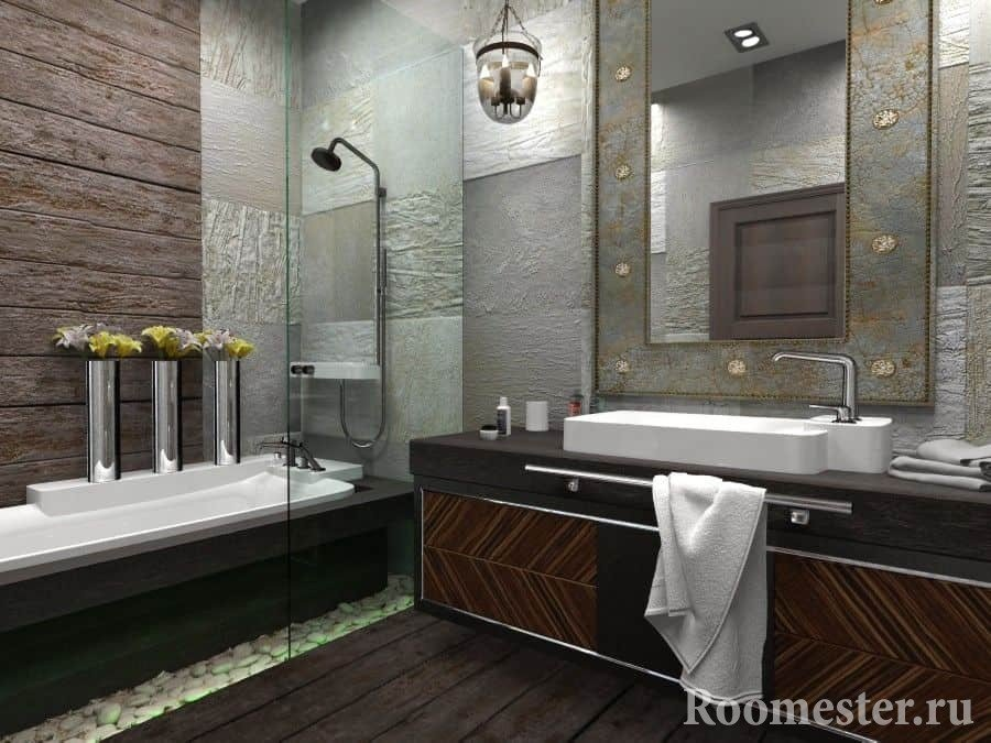 Необычный светильник напоминает подсвечник в ванной