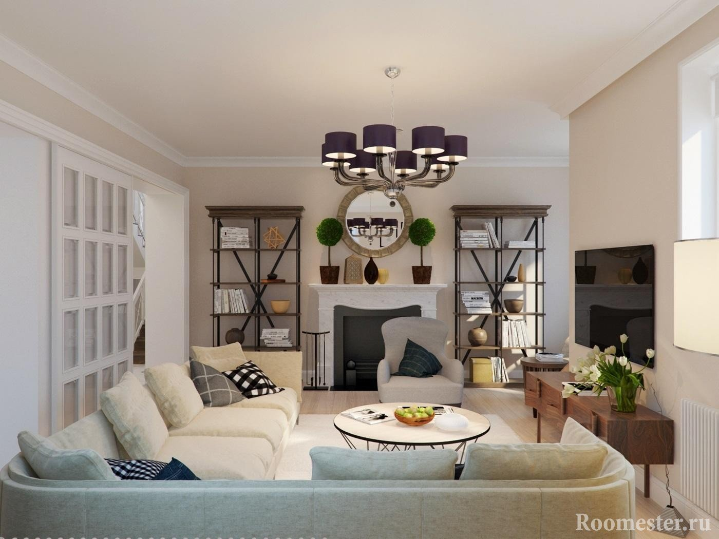Угловоой диван в гостиной