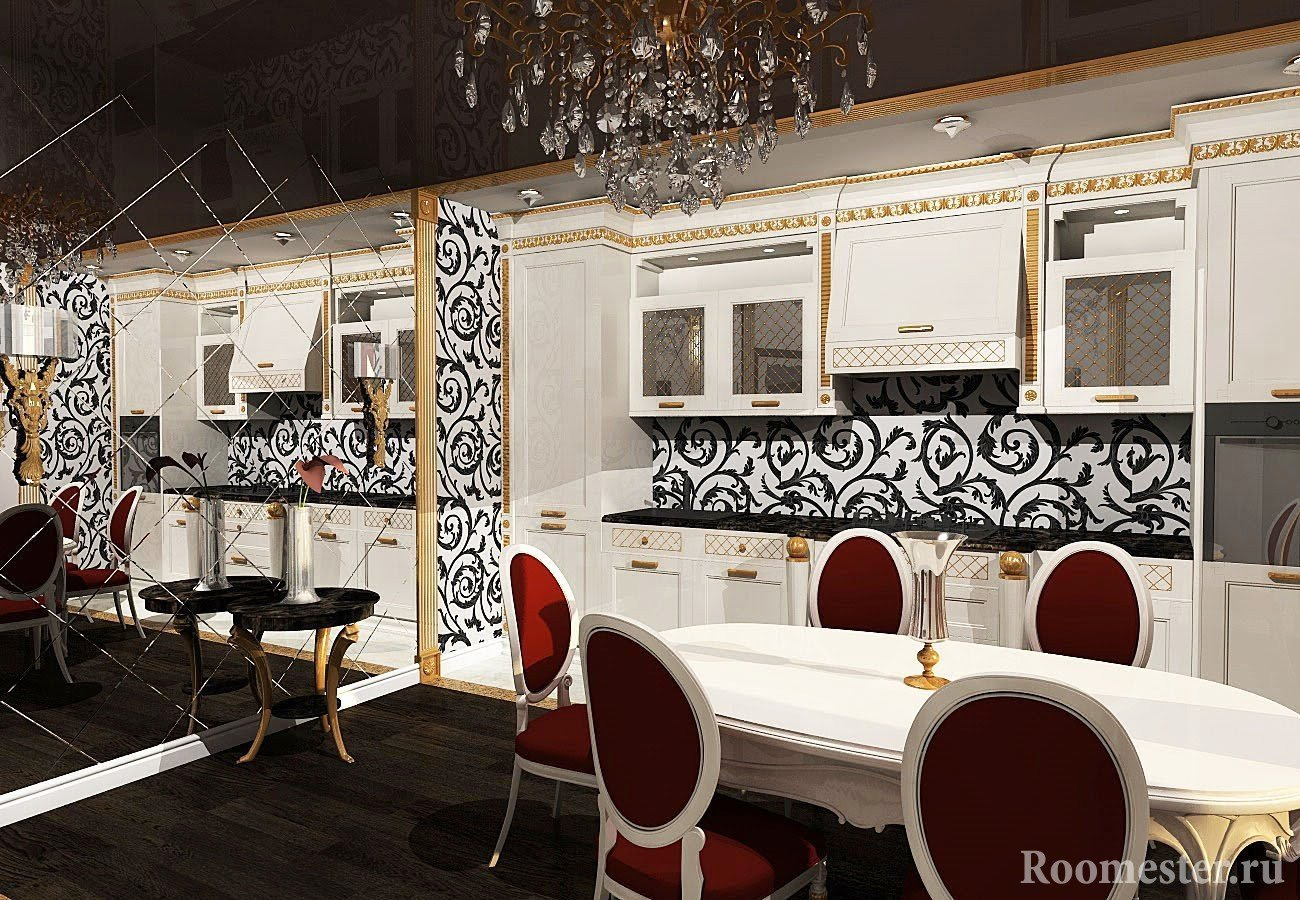 Зеркальная стена в кухне