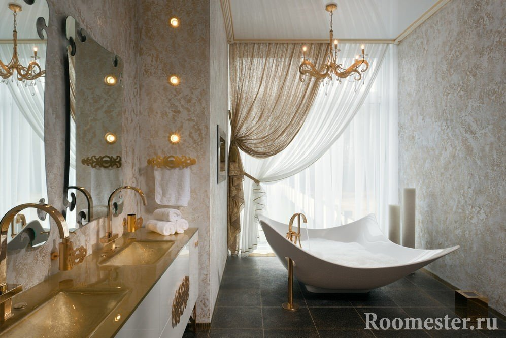 Ванна с сантехникой под золото