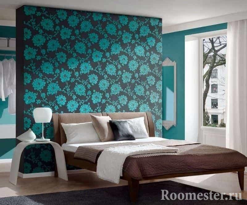 Бирюзовая спальня с гардеробом