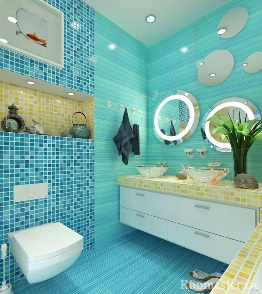 Бирюзовая ванная в морском стиле