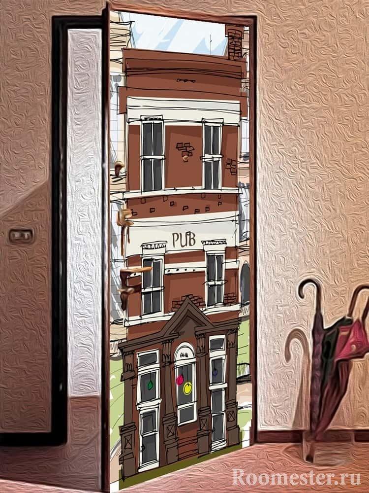 Стильная дверь с фотообоями