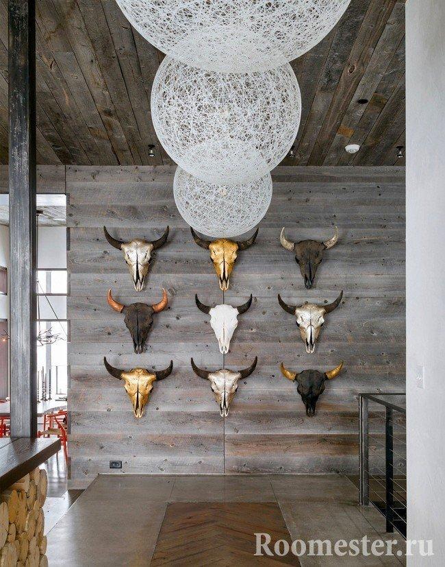 Декорирование стены головами быков