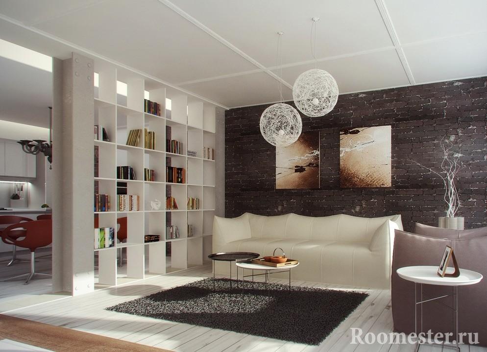 Разделение комнаты стеллажом
