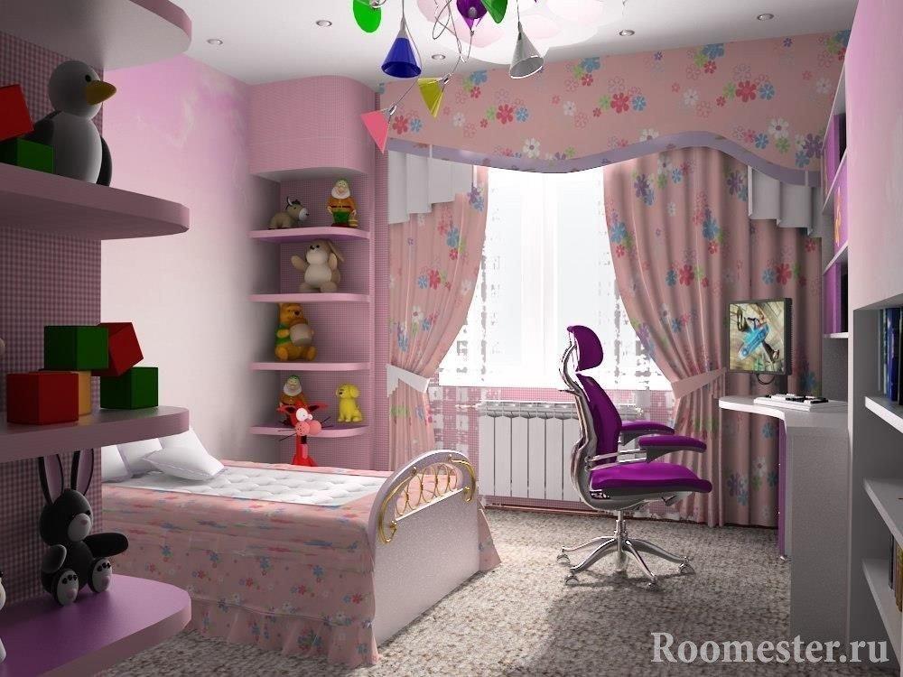 Комната для девочки в розовом цвете