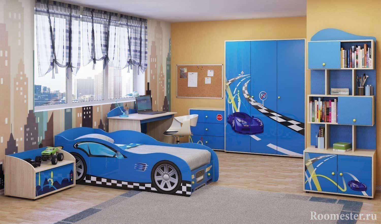 Детская комната, кровать с машинкой