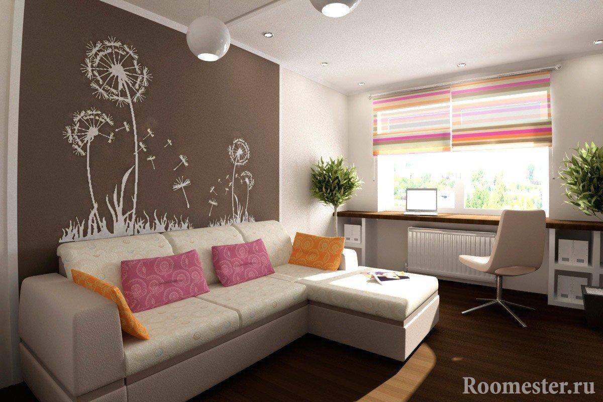 Фотообои на стене комнаты