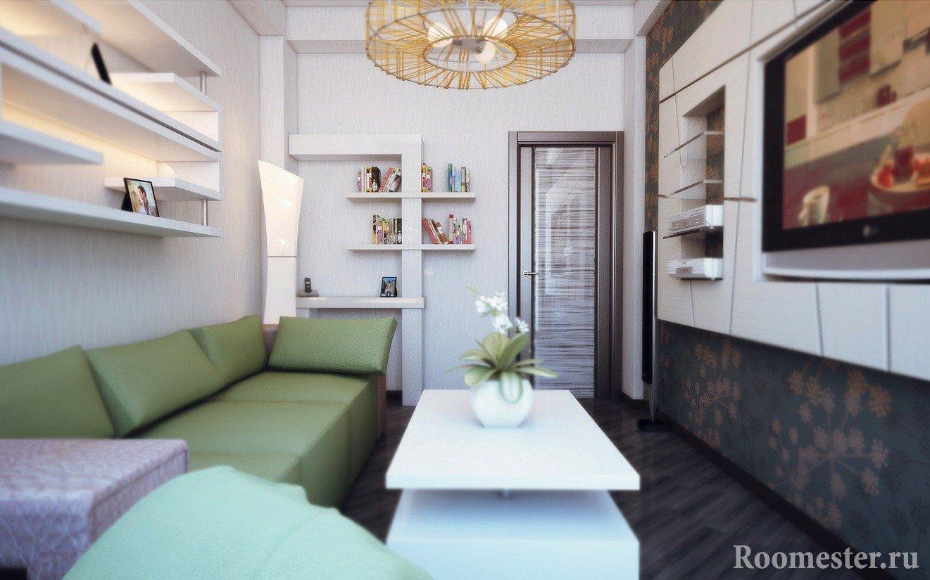 Узкая гостиная комната 17 кв м