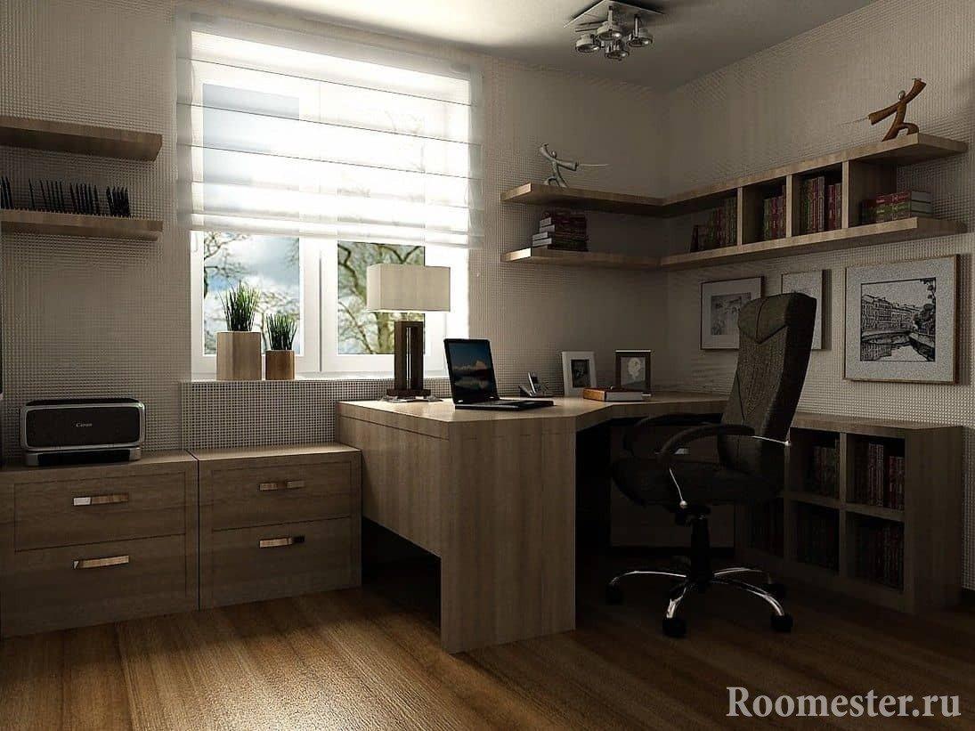 Дизайн кабинета с угловым столом из дерева