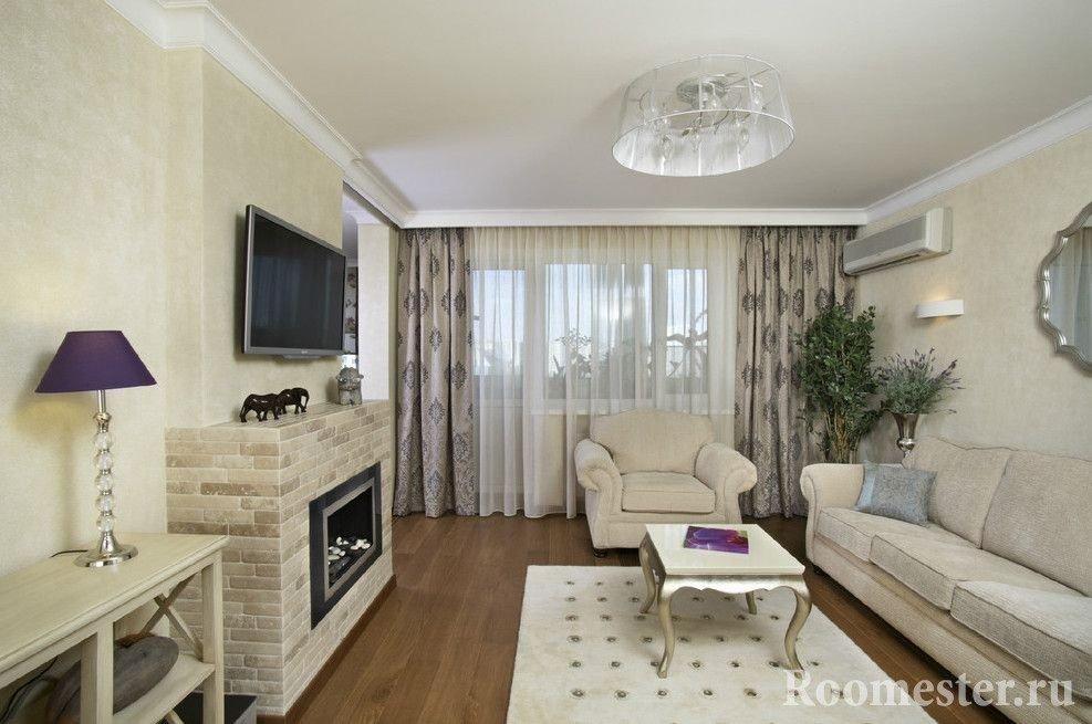 Классическая гостиная комната с биокамином