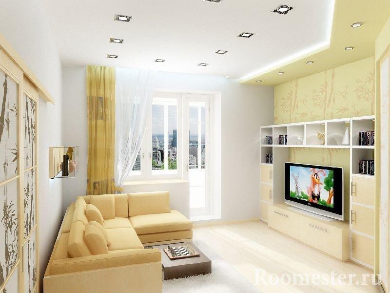 Желто-белая гостиная комната