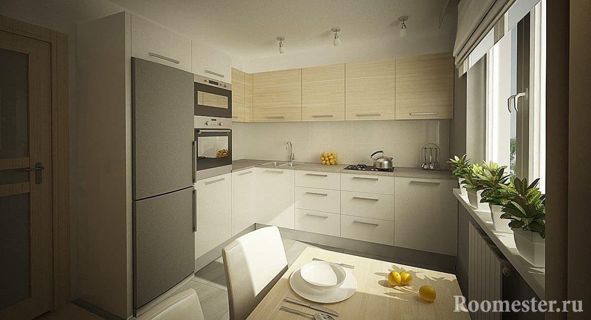 Квадратная кухня 10 кв м