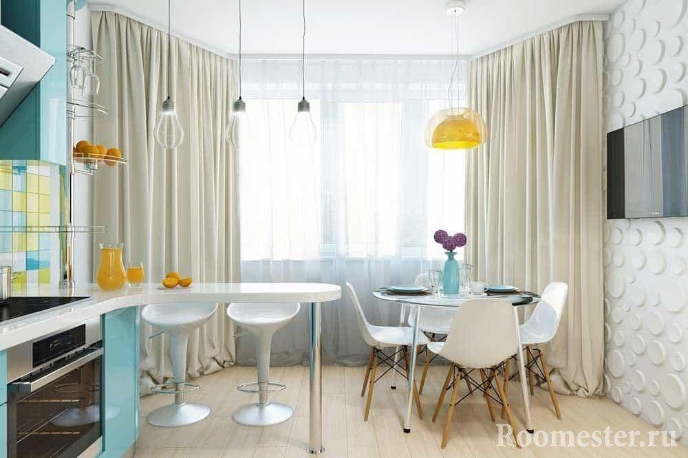 Кухня с эркером 10 кв м
