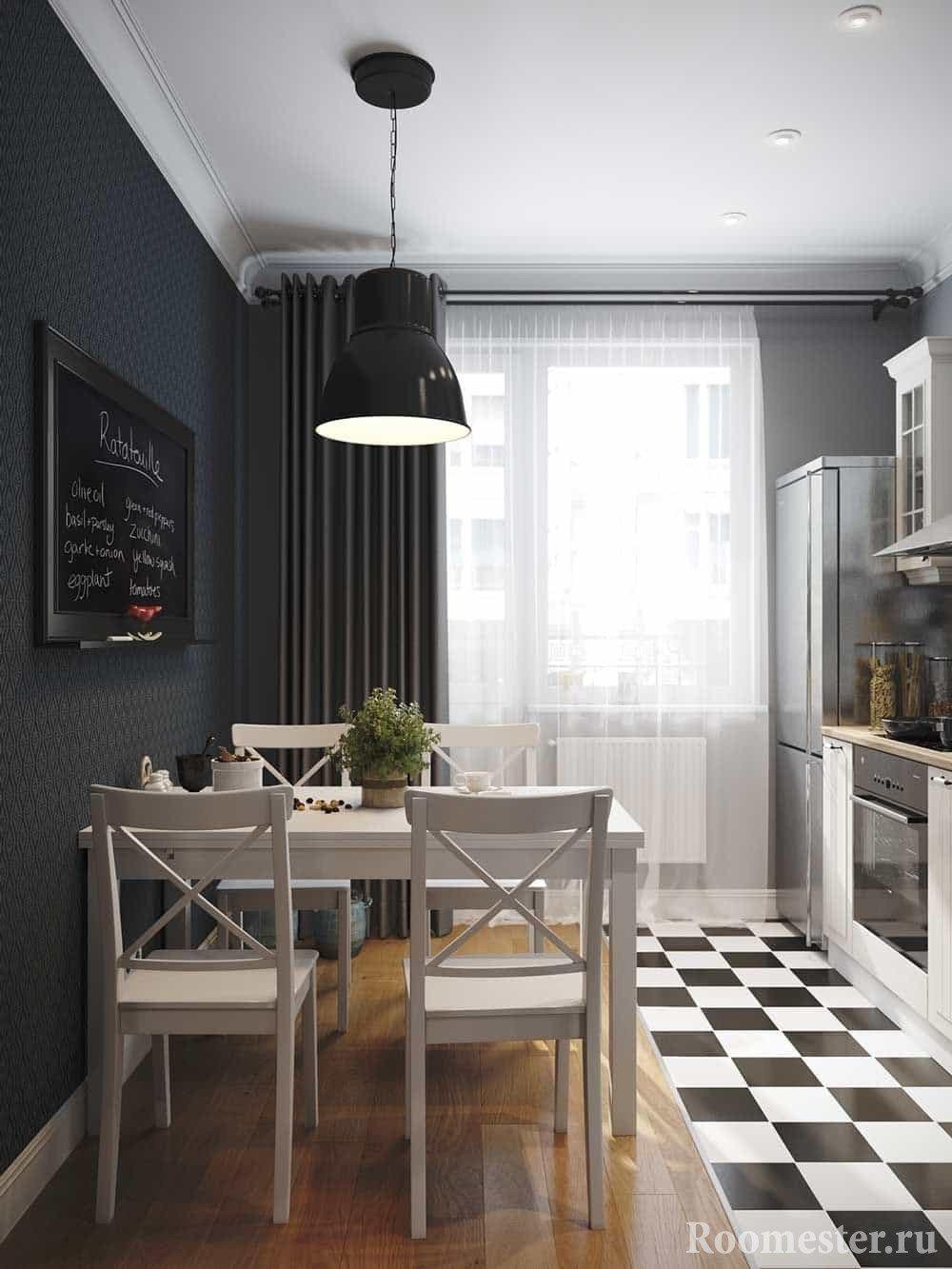 Черно-белая кухня 10 кв м