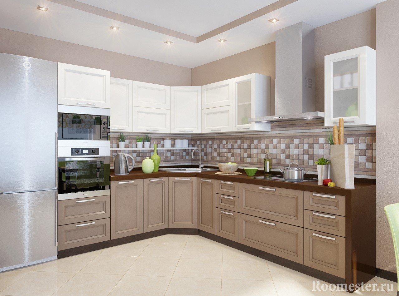 Бело-коричневая кухня