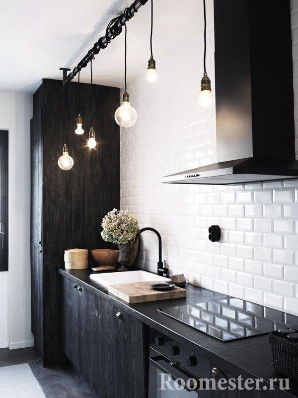 Оригинальная подсветка рабочей зоны в кухне