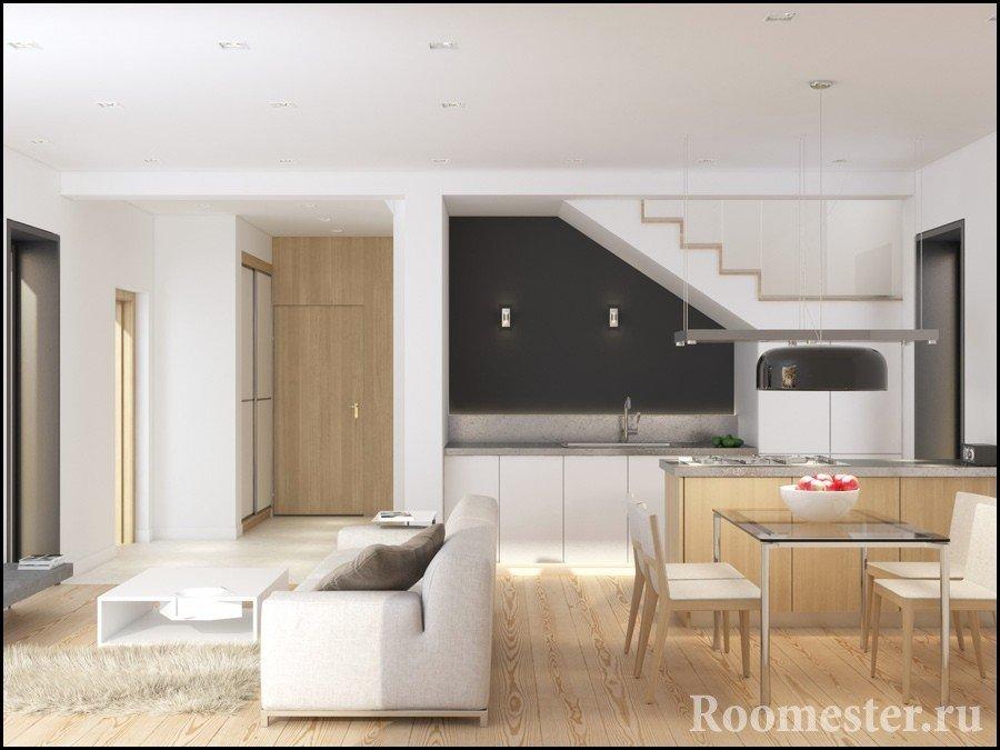 Кухня под лестницей в гостиной