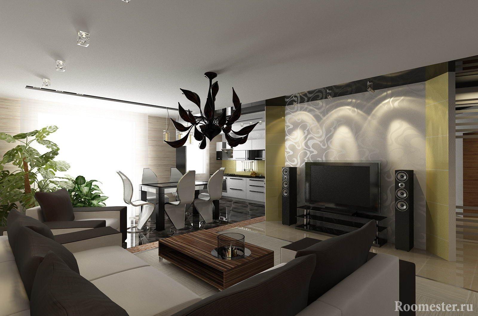 Дизайн кухни-гостиной в темных тонах