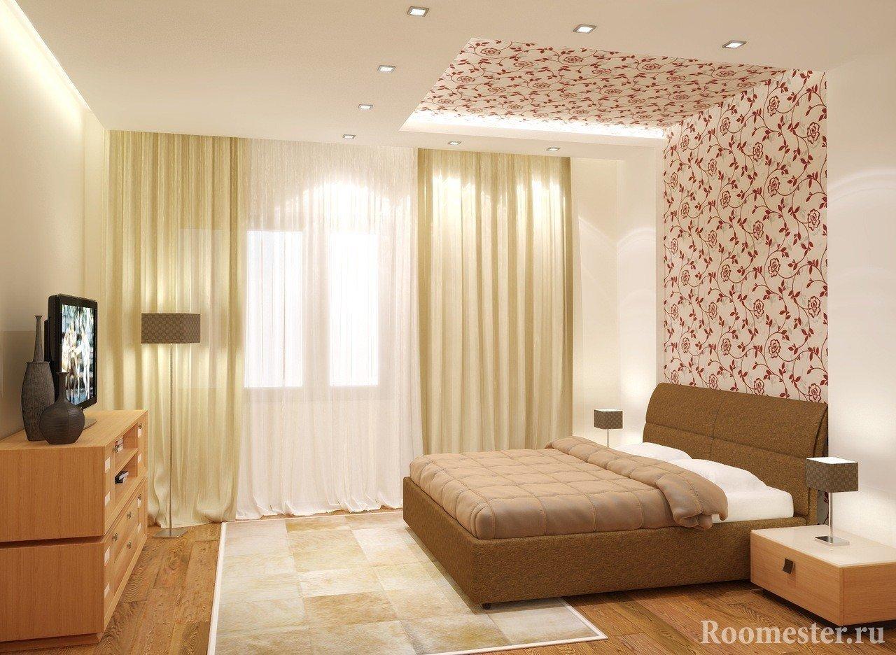Потолок комбинированный в спальной комнате
