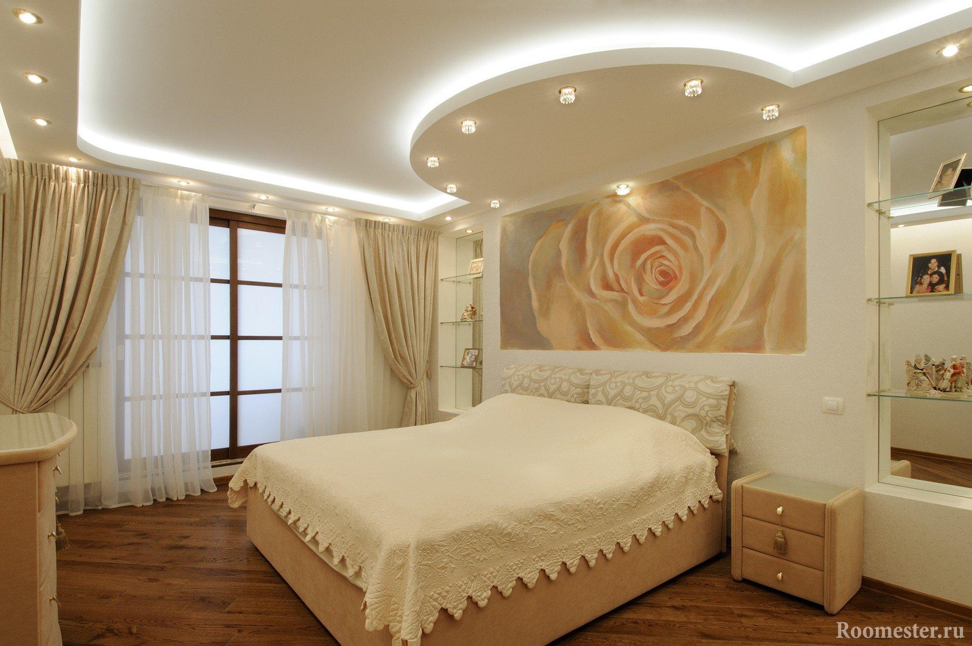 Гипсокартонные потолки в два уровня с подсветкой