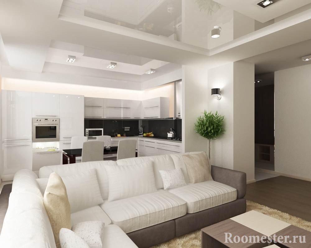 Гипсокартонный и натяжной потолок - двухуровневый