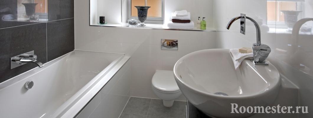 Дизайн ванной комнаты с унитазом