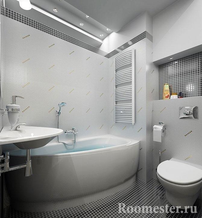 Ванная с отделкой из мелкой мозаики