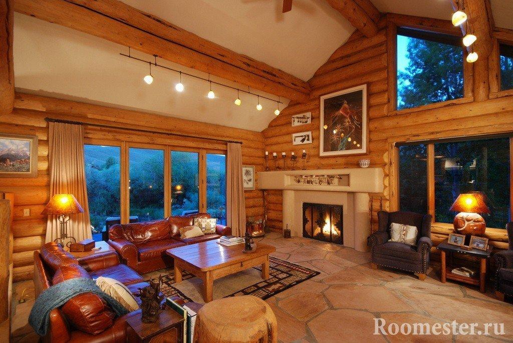 Дом из бревна с камином