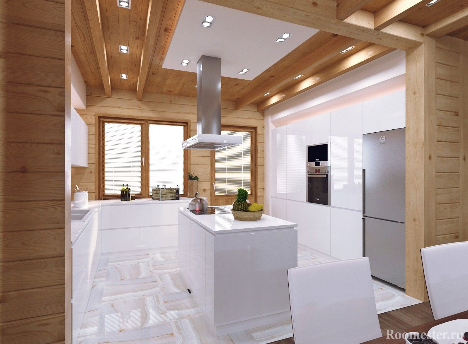 Не большая кухня в доме из бруса