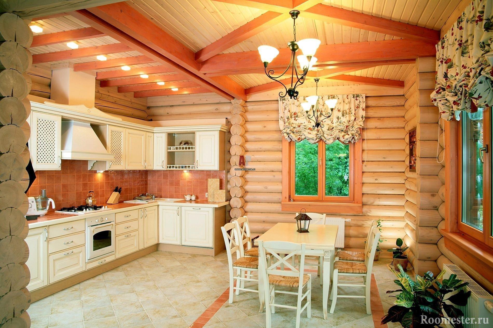 Кухня в доме из сруба
