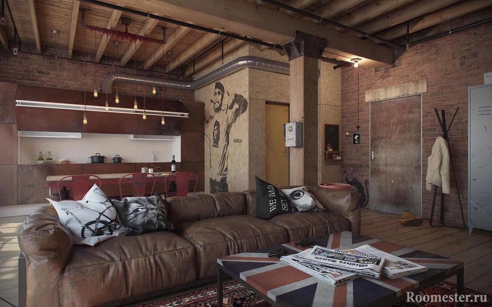 Квартира студия в стиле лофт