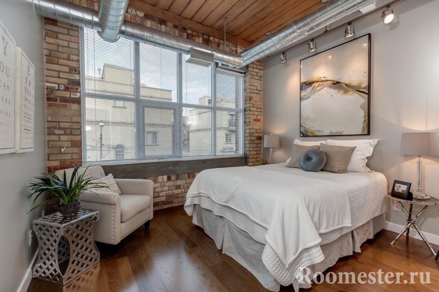 Дизайн лофт в интерьере спальни