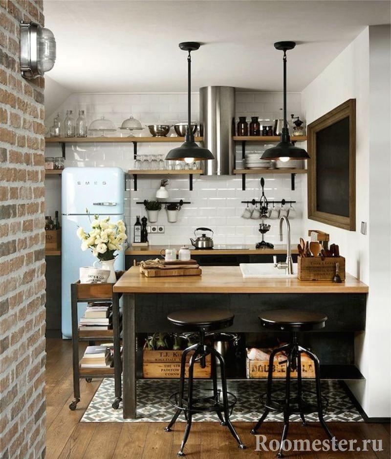 Маленькая лофт кухня