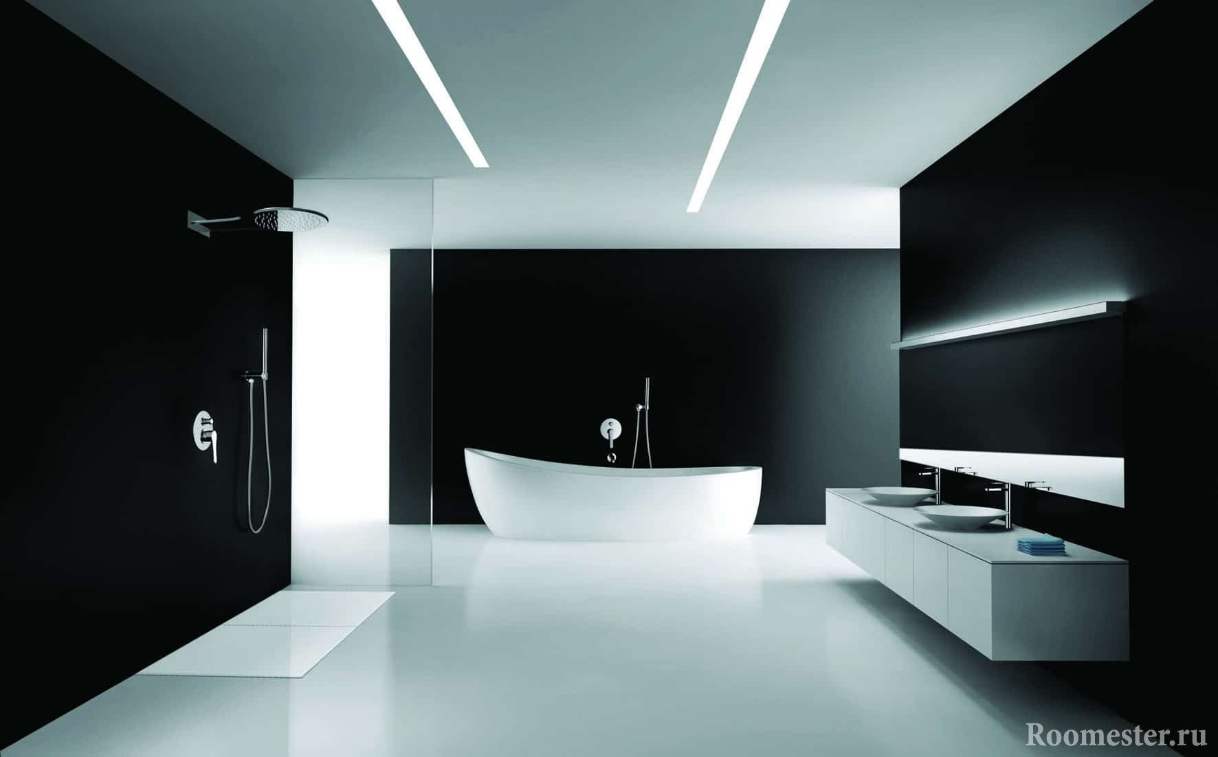Вариант дизайна ванной в минимализме