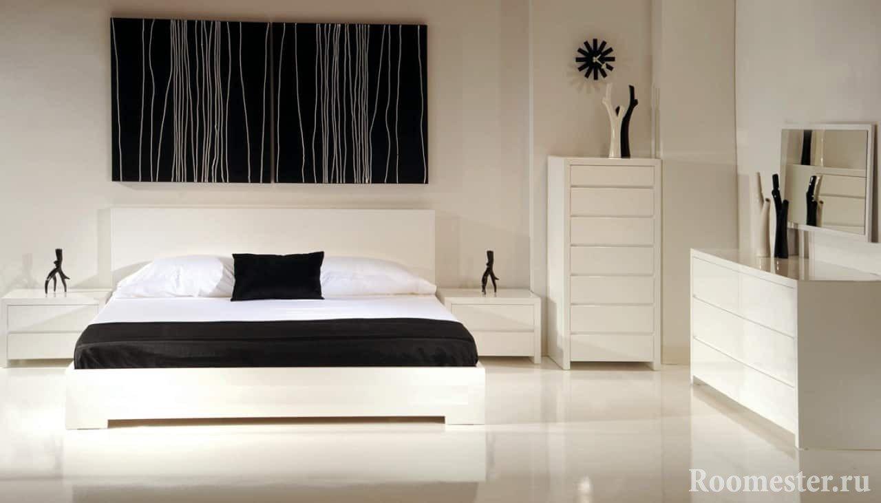 Черно-белый спальный гарнитур
