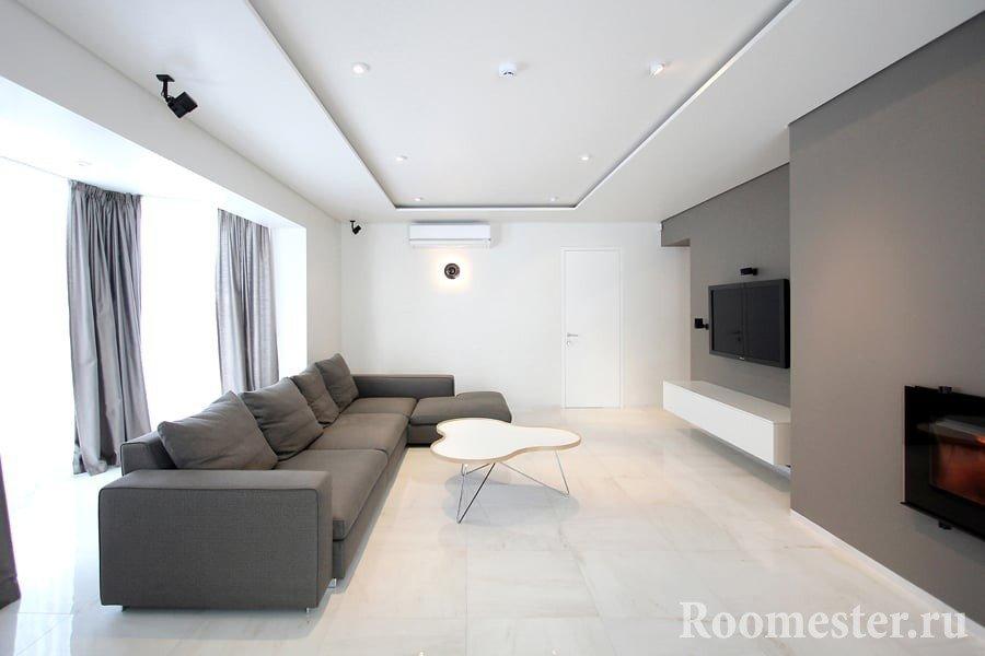 Ассиметричная гостиная в стиле минимализм