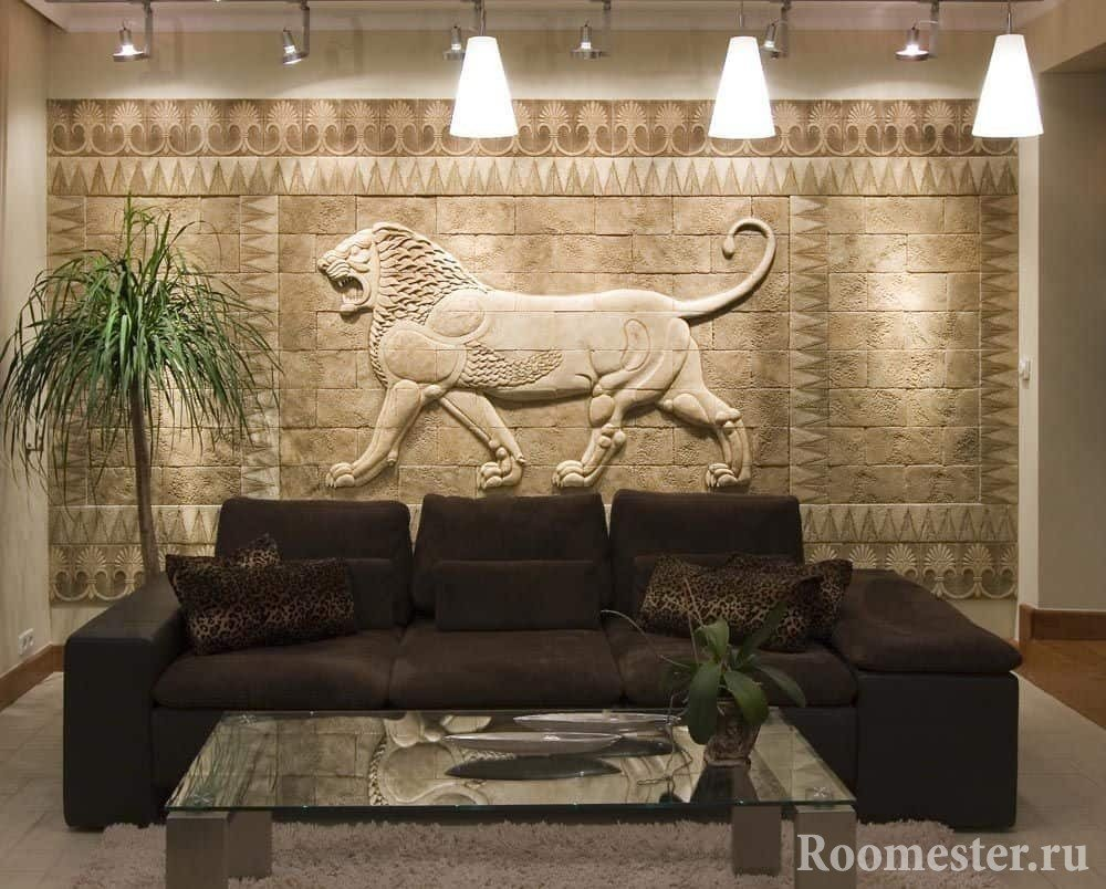 Каменное панно, стильно и богато