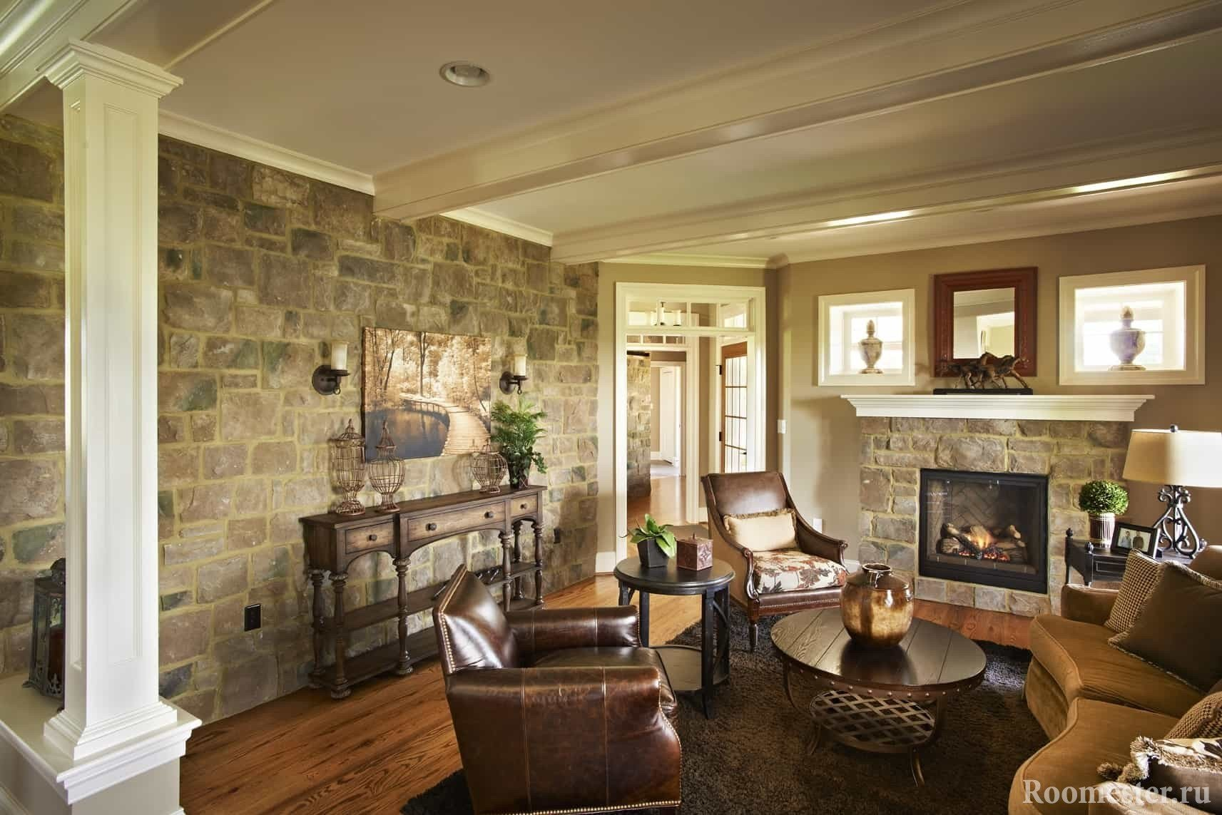Wall decor in the living room under stone