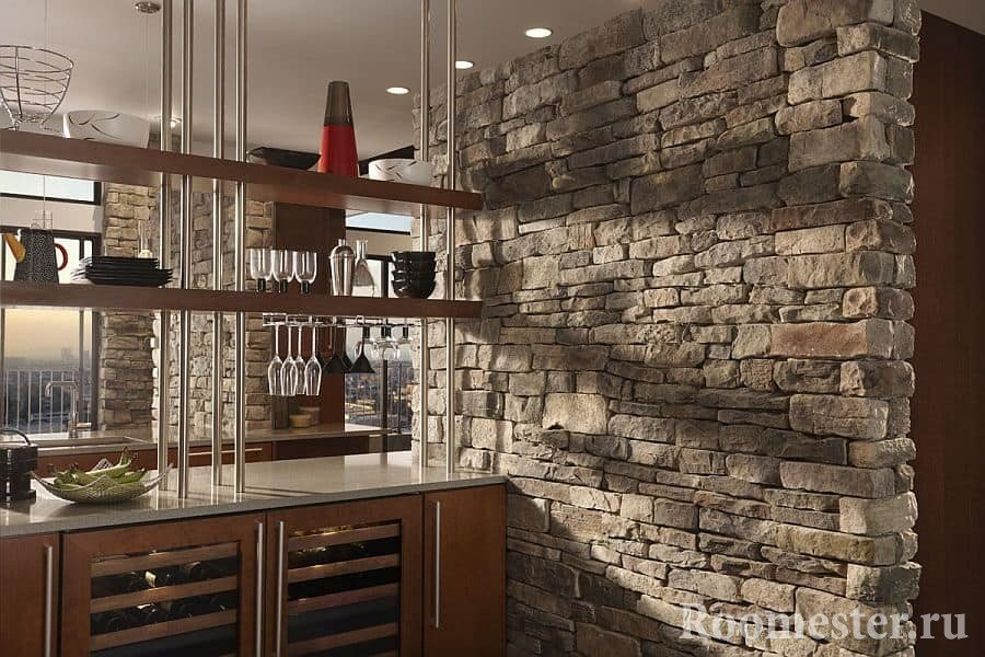 Bar counter and large stone