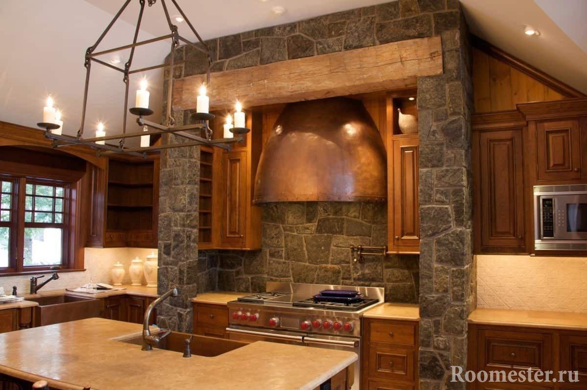 Пример укладки камня в кухне