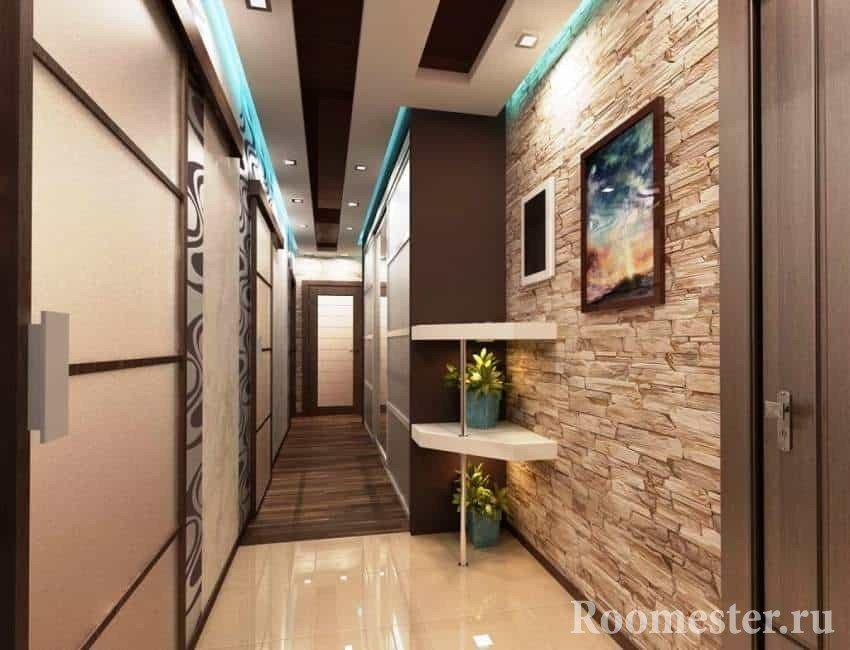 Interior decoration of the corridor in the apartment