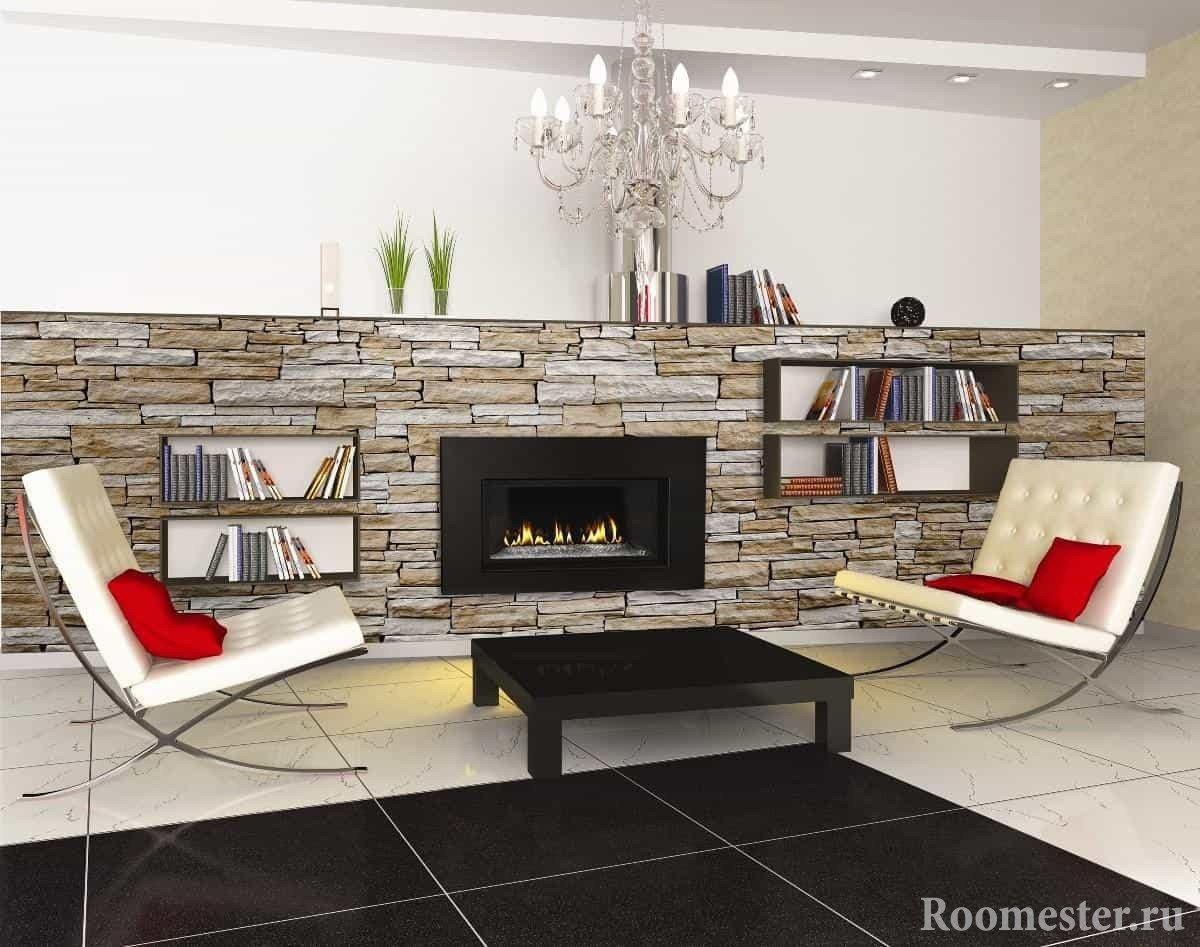 Elegant stone texture in the living room