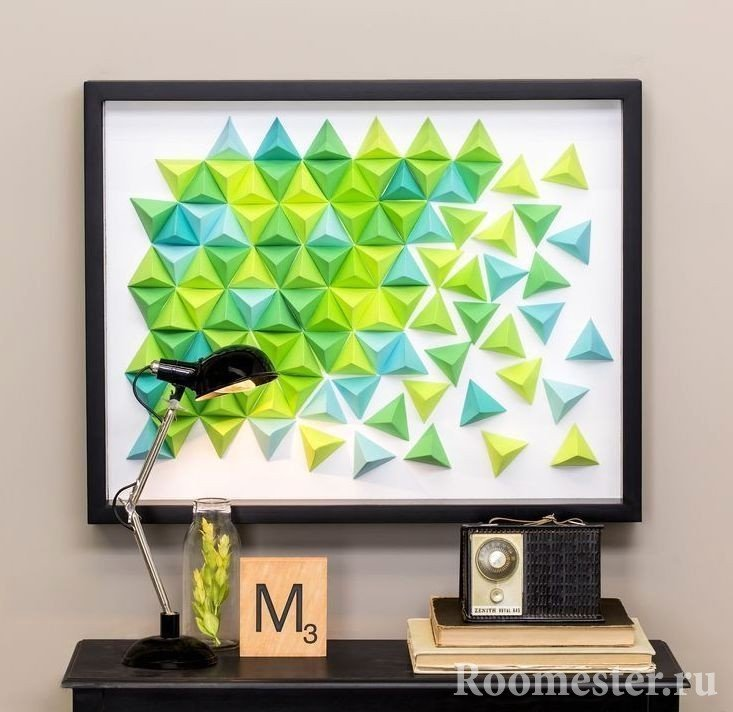 Panel of origami from colored triangles