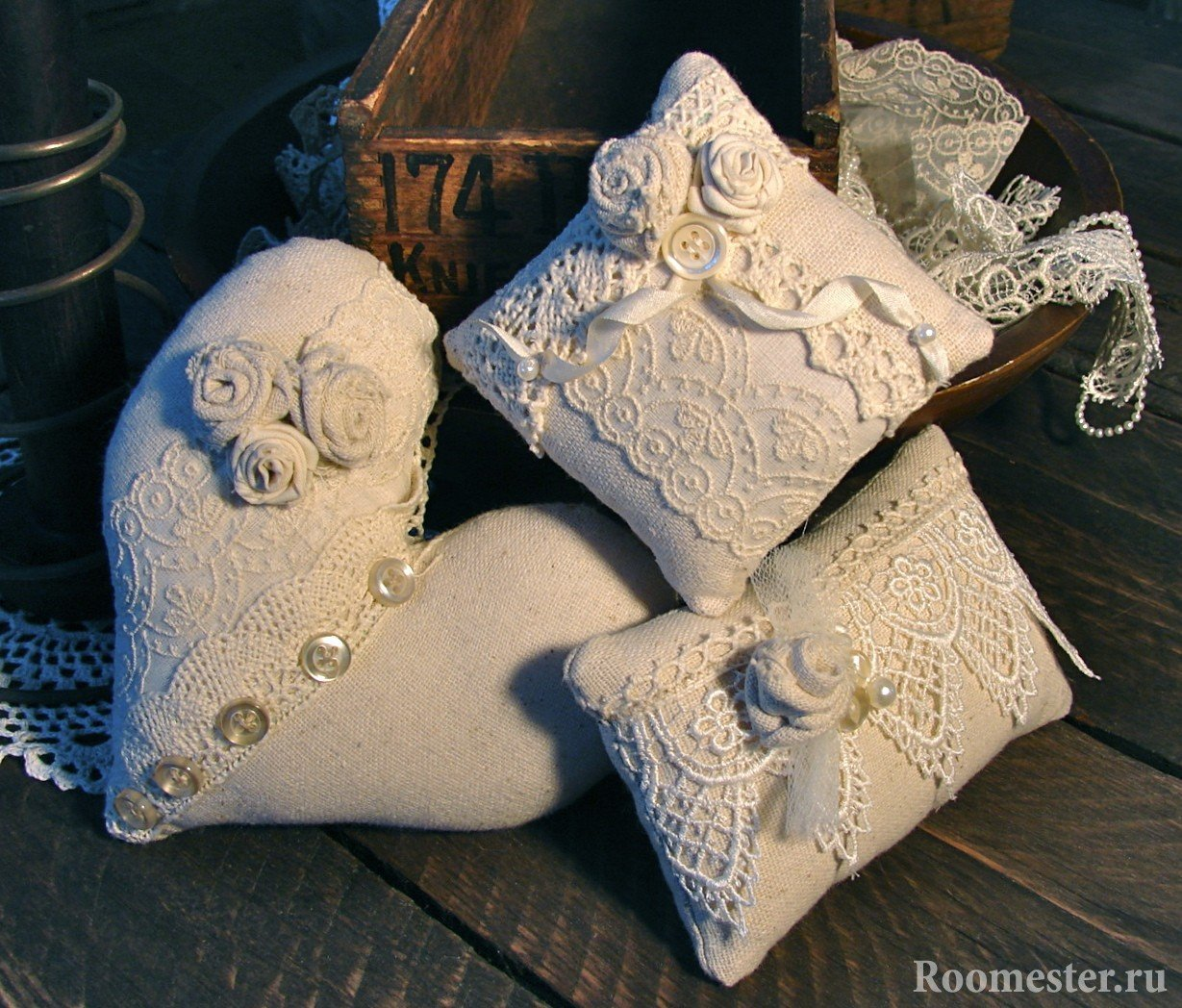 Lace pillows in the style of Provence