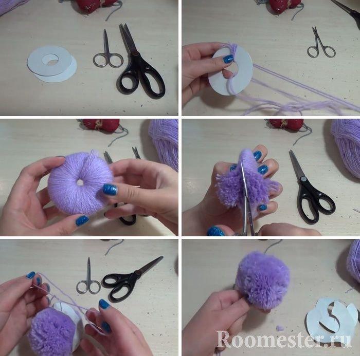 Making a pom-pom with cardboard