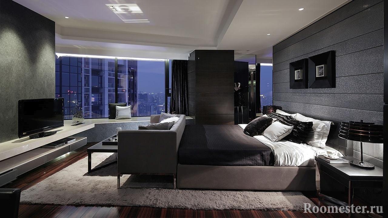 Стиль хай-тэк в спальне с панорамным окном